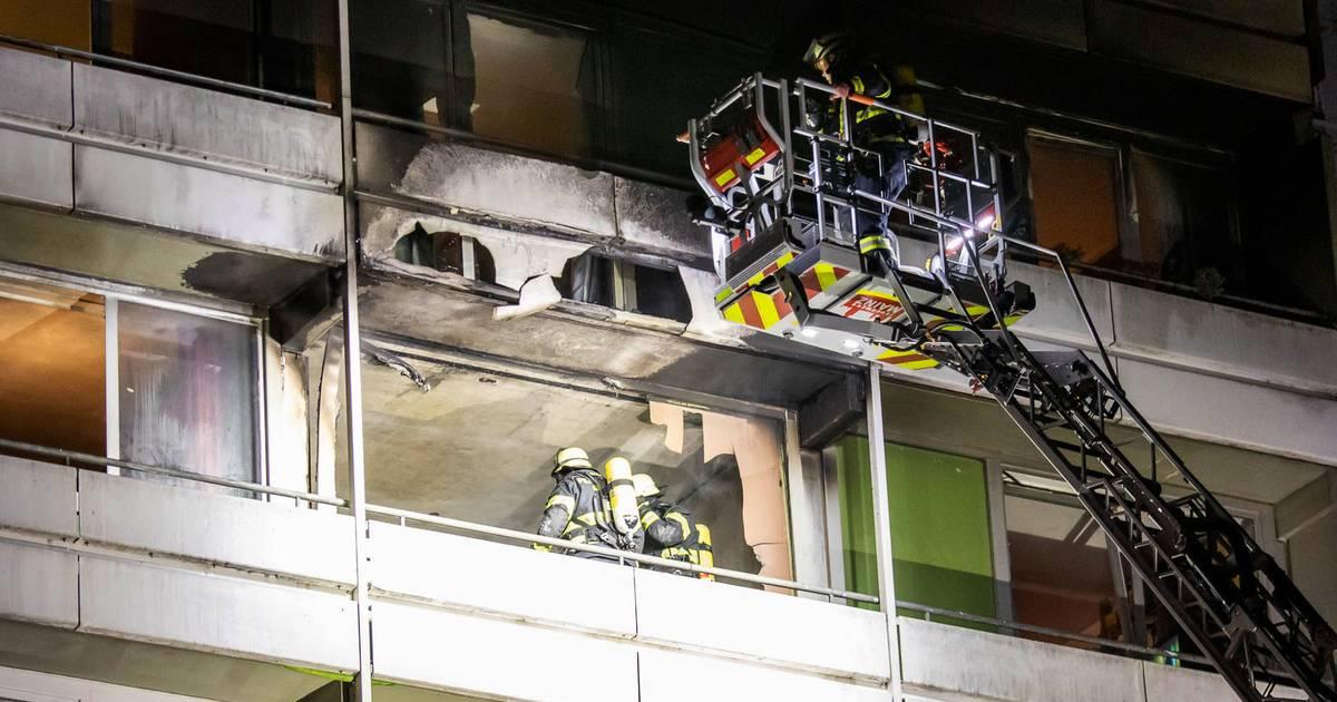 Nächtlicher Hochhausbrand in Mainz